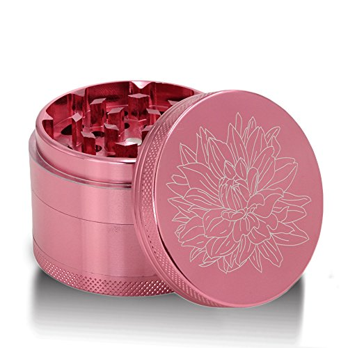 DCOU-New-Design-Premium-Aluminium-Herb-Tobacco-Weed-Grinder-22-Inches-4-Piece-Metal-Grinder-with-Pollen-Catcher-with-Laser-Flower-Pattern