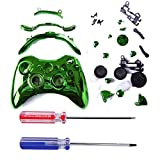 HDE Custom Replacement Wireless Game Controller Shell Case Cover Kit for Xbox 360 - Includes Button Set, Torx & Phillips Head Screwdrivers (Green Chrome)