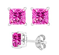 2.00 Carat Total Weight 925 Sterling Silver Earrings. 1.00 Carat Each Stone. Created CZ Pink Stone by U.S.A