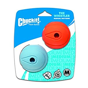 Chuckit! Medium The Whistler Ball 2.5-Inch, 2-Pack