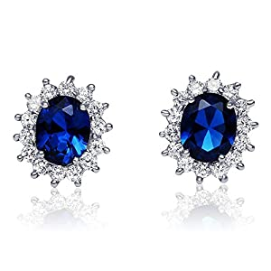 Sterling Silver Simulated Blue Sapphire with Clear Cubic Zirconia Princess Stud Earrings, 17mm