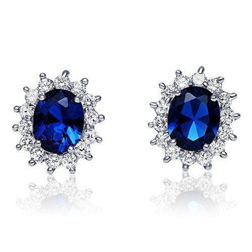Sterling-Silver-Simulated-Blue-Sapphire-with-Clear-Cubic-Zirconia-Princess-Stud-Earrings-17mm