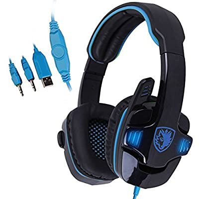 Sades Wired Lightweight Over Ear Surround Sound Stereo PC Gaming Headphones Headband USB Headsets with Microphone PU Ear-pad for Gamers Laptop PC/MAC/Laptop Sades Retail Box