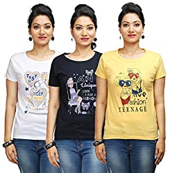 Flexicute Women's Printed Round Neck T-Shirt Combo Pack (Pack of 3)- Navy Blue, Yellow & White Color. Sizes : S-32, M-34, L-36, XL-38