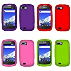 Fincibo (TM) Combo Silicone Skin Soft Gel Protector Cover Case Purple + Hot Pink + Red + Green for ZTE Fury N850/ Director N850L/ Valet Z665C