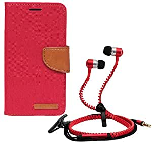 Aart Fancy Wallet Dairy Jeans Flip Case Cover for MeizumM2 (Red) + Zipper Earphones/Hands free With Mic *Stylish Design* for all Mobiles- computers & laptops By Aart Store.