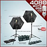Photography video studio with 2 Fluorescent Light Bank Linco Flora +2 35-Inch Hexogen Easy Softbox Linco Flora +2 8308 Compact Light Stand+12 85W Softwhite Daylight Photo Energy Bulb Linco +2 Carrying Bag by Linco 3120FK