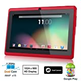 "Dragon Touch® 7"" Red Dual Core Y88 Google Android 4.1 Tablet PC, Dual Camera, HD 1024×600, Google Play Pre-load, HDMI, 3D Game Supported (enhanced version of A13) [By TabletExpress]"