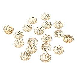 PandaHall Elite Jewelry Making Metal Brass Multi-Petal Hollowed Bead Caps Flower Cup Shape Beads 12x3mm Golden 20 Pcs a Bag