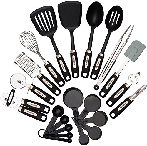 22-piece Kitchen Utensils Sets – Home Cooking Tools- Stainless Steel & Nylon Gadgets- Turners, Tongs, Spatulas, Pizza Cutter, Whisk, Bottle Opener, Grater, Peeler, Can Opener, Measuring Cups & Spoons