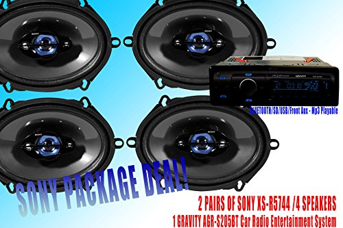 "Sony Packpage Deal! 2 Pairs Sony 5X7"" Xs-R5744 Car Speaker /4 Speakers + 300W Gravity Agr-S205Bt Car Stereo Receiver - Built-In Bluetooth/Sd/Usb/Front Aux - Mp3 Playable"