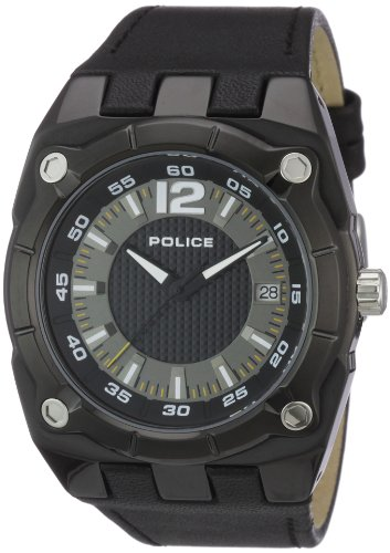 Police Men's Marshall Watch 12696Jsb/02 with Black Leather Strap and Black/Gun Dial