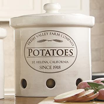Stoneware Canisters Large & Potato Bin Storage Containers Basket Bag or Canister