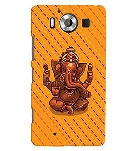 ColourCrust Microsoft Lumia 950 Mobile Phone Back Cover With Lord Ganesha Ganpati Devotional - Durable Matte Finish Hard Plastic Slim Case