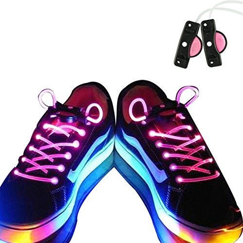 Voberry® Newest Hot Sale Fashion Led Light Up Flashing Shoelaces Necklaces Eyes-Catching Suitable For Parties, Hip-Hop, Dancing, Night Jogging(Pink)