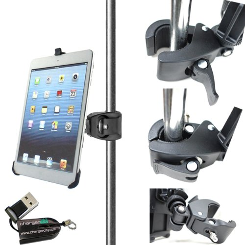 "Chargercity Dedicated 360° Swivel Adjustment Apple Ipad Mini Holder With 1/4""-20 Connection With Dual Joint Multi Adjustable Bar/Pole Clamp Mount For Tripod Monopod Music Mic Microphone Stand, Golf Cart, Stroller (Include Free Chargercity Micro Sd Memory"