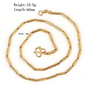 YARUIE Mens 18K Gold Plated Cyclinder ShapeChain Necklace Wedding Birthday Gift Charms