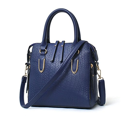Ryse Womens Fashionable Classic Double Zipper Exquisite Metal Handbag Shoulder Bag(Navy)
