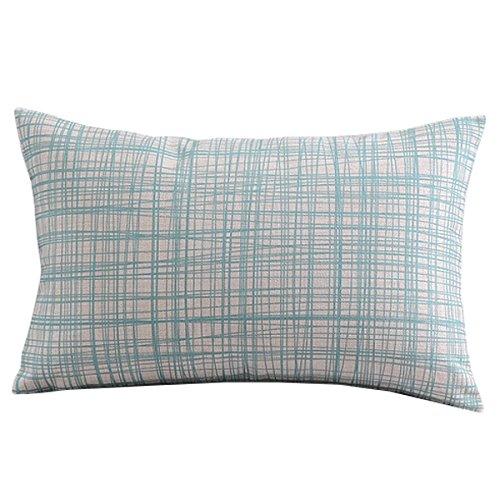 "Create For-Life Cotton Linen Decorative Pillowcase Throw Pillow Cushion Cover Light Blue Gingham Rectangle 12"" * 20"""