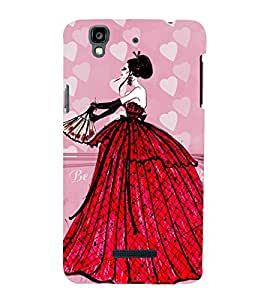 ANIMATED GLAMOROUS GIRL IN A RED GOWN 3D Hard Polycarbonate Designer Back Case Cover for YU Yureka::Micromax Yureka AO5510