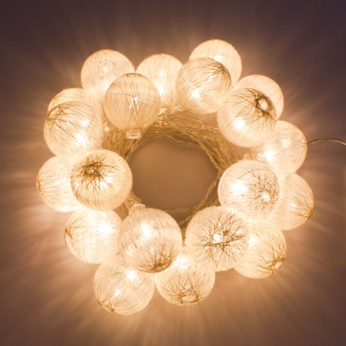 Catena a batteria, Cotton Ball Old White, 4,75 m, 20 led bianco caldo, decorazioni luminose, addobbi luminosi, luci per la casa, luci di Natale