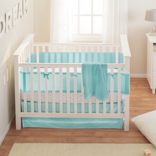 BreathableBaby Safety Crib Bedding Set, Aqua Mist, 3 Piece image