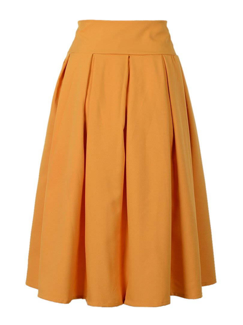 Choies Women's Casual Pleat Bowknot Front Midi Skirt 2