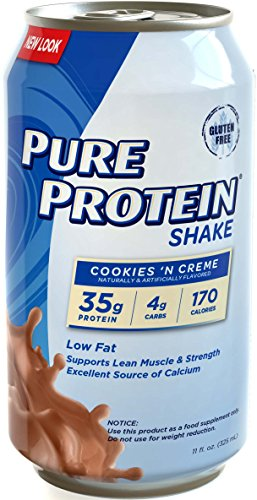 Pure Protein 35g Shake – Cookies and Cream, 11 ounce, (Pack of 12)