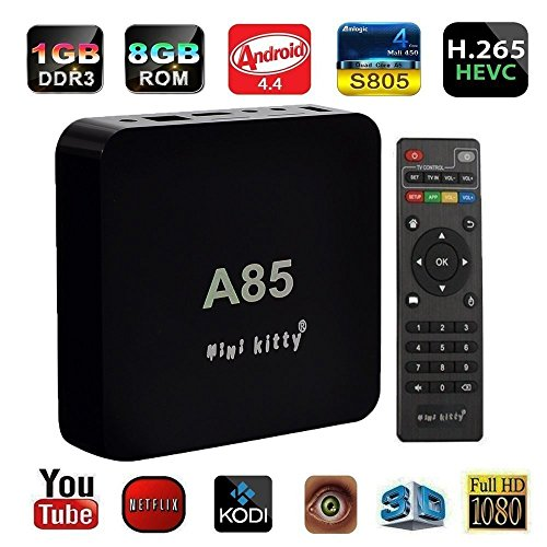 Mini Kitty®-Quad Core A85 Smart TV BOX Mini PC Streaming Media Player with KODI(XBMC) Streamer 1GB/8GB, Fully Loaded,Google Android 4.4 KitKat,Amlogic S805 CPU, 1.5 GHz (Kitty Streamers compare prices)