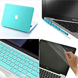 For MACBOOK AIR 13.3 inch A1369,A1466 and A1304 Rubberized Hard Case 5 in1 Silicone Keyboard Cover, LCD HD Clear Screen Protector and +12pcs Dust plug +Touchpad Protector Free