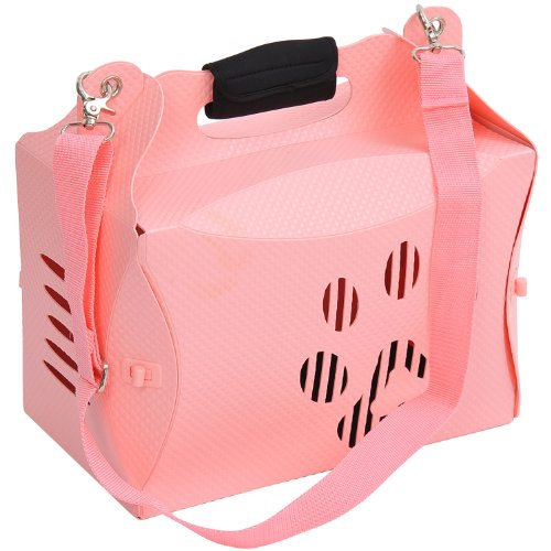 Pawhut Portable Folding Dog / Pet Carrier Tote Bag W/ Shoulder Strap - Pink front-101624