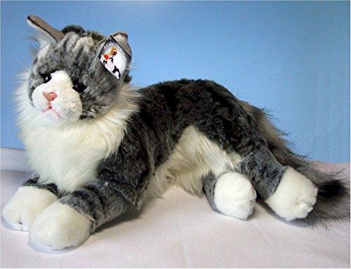liegende graugetigerte Katze Maine Coon 35 cm,