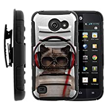 buy Huawei Tribute Y536A1, Rugged Protection Holster Clip Kickstand Hard Shell Case Combo Funny And Cute Animals Artwork Series By Miniturtle ® - Cool Cat In Headphones