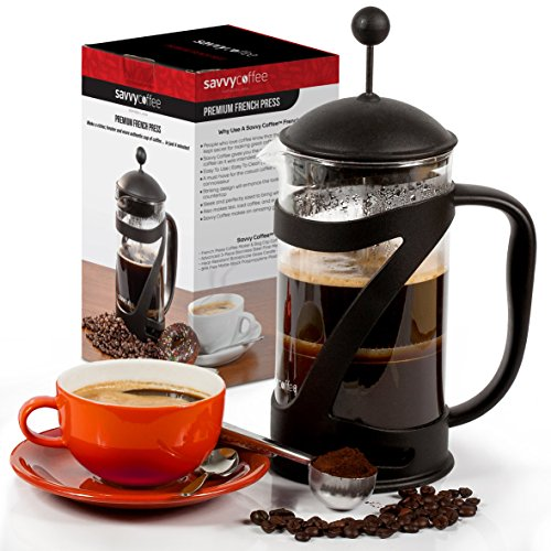 French Press Coffee Maker and Stainless Steel Coffee Scoop Set | 34 Oz | By Savvy Coffee (Metal Milk Steamer Cup compare prices)