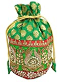 GiftPiper Embroidered Stone Work Potli-Green