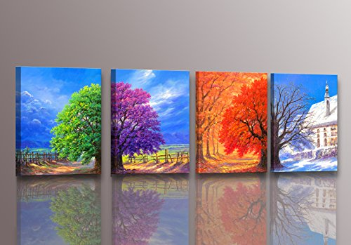 Youkuart-kx9006,canvas Prints, 4panel Wall Art Boat Spring, Summer, Autumn,winter,oil Paintings Printed Pictures Stretched for Home Decoration