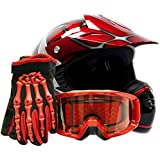 Youth Offroad Gear Combo Helmet Gloves Goggles DOT Motocross ATV Dirt Bike MX Spiderman Red, Medium