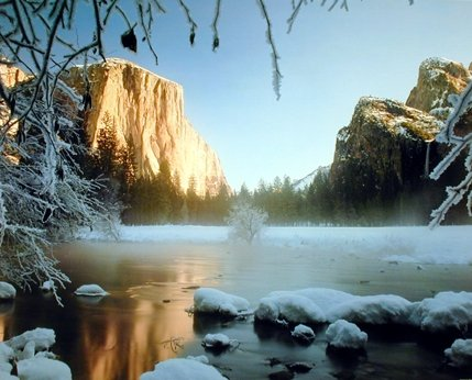 Yosemite Valley And Lake Covered With Snow Landscape Scenic Art Print Poster (16x20) (Yosemite Picture compare prices)