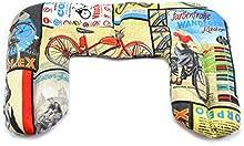 Saco térmico con aromas naturales, modelo cervical, tela con estampado de bicicletas vintage