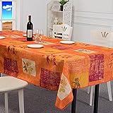 北欧スタイル 柄 撥水加工 拭きやすい テーブルクロス テーブルカバー 長方形 150 × 200 cm オレンジ