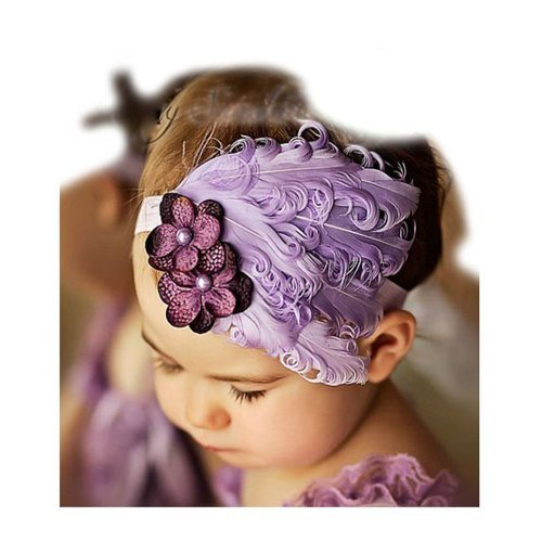 FuzzyGreen®Purple Lovely Generic Baby Newborn Toddler Girls Feather Infant Bow Peacock Headband Hairband Head Wear Photography Prop+Gift