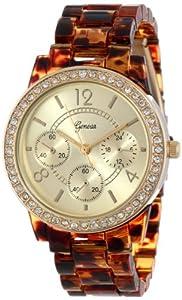 Geneva Women's 2381-Gold/Tort-GEN Rhinestone Accented Tortoise Shell Watch