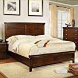 Fancy Dunhill Transitional Style Brown Cherry Finish Queen Size Bed Frame Set