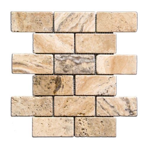 Philadelphia 2 X 4 Tumbled Travertine Brick Mosaic Tile - 6 X 6 Sample
