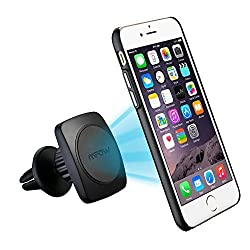 Mpow Grip Magic Air Vent 360°rotation Magnetic Car Mount Holder with Built-in Metal Plate Iphone 6/6s Case and 2 Universal Adhesive Metal Plates,Black