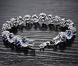 Platinum Plated Swarovski Elements Bracelet for Women Sparkle Crystal Wrist Band Bangle Wedding Jewelry