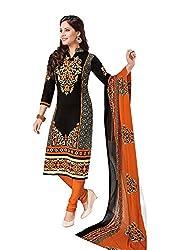 RK Fashion Womens Chiffon Un-Stitched Salwar Suit Dupatta Material ( Rajguru-Rimzim-9039-Black-Free Size )
