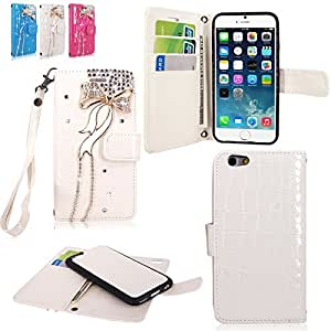 Iphone 6 6S Plus - Cellularvilla Diamond Glitter Bow Design Pu Leather Flip Wallet Pocket Card Slots & Detachable Back Cover with Wristlet Pouch for Apple Iphone 6 6S Plus 5.5 Inch Inch (White Bow Tie)