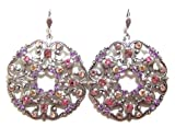 Anne Koplik Designs Sterling Silver Plated Large Filigree Earrings with Pastel Colors of Swarovski Crystals