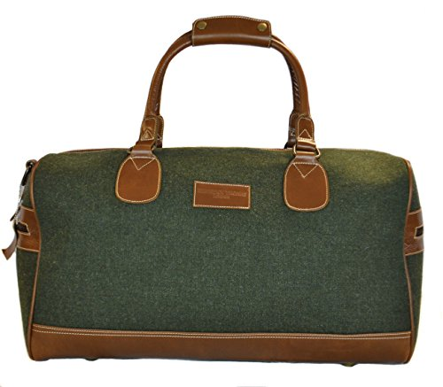 Green-Tweed-weekend-holdall-overnight-bag-with-genuine-leather-handles-and-detailing-by-Frederick-Thomas